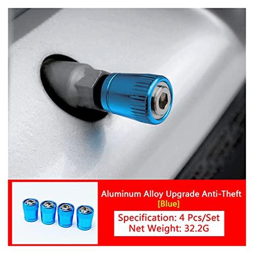 yanyan Anti-Robo de la válvula de neumáticos de la válvula de neumáticos Neumáticos de la Rueda de la aleación de Aluminio Tallo de Aire Tapa de Aire de la Tapa hermética Boquilla Auto Accesorio