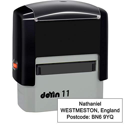 Sellos de goma personalizables (38 x 14mm- 3 líneas)- personalizables Sello autoentintable- Volver sello de dirección personalizado, Negro