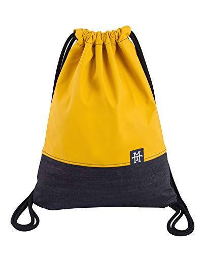 Manufaktur13 Denim Sports Bags - Jeans Turnbeutel, Rucksack in Senfgelb, Gym Bag in kultiger Farbe, Sportbeutel, Beutel Tasche (M13) (Mustard)