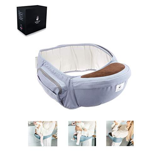 Fastique Kids® Baby Hüftsitz - Babytrage für Neugeborene und Kinder bis 36 Monate - Ergonomische Tragehilfe Multifunktional Taillenlänge 127cm (Grau)