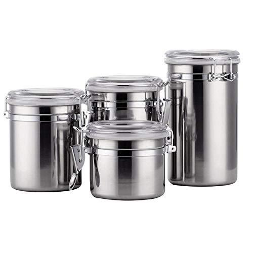 PIVFEDQX CXWK 4-teilige/Set-Deckel mit luftdichten Deckeln Organizer Edelstahl-Aufbewahrungskanister Küchenutensilien Tee versiegelter Glasbehälter, 5 Zoll