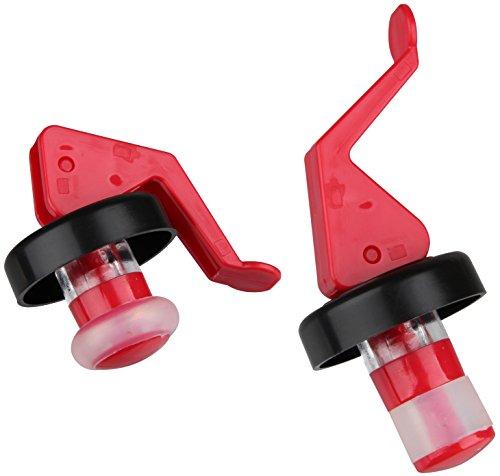 FACKELMANN 2 Flaschen-Spreizverschlüsse, Kunststoff, rot/weiß/schwarz, Durchmesser ca. 3cm, 2-Einheiten