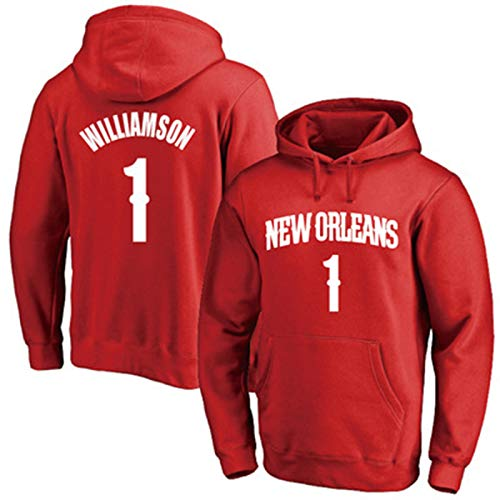 DYJXIGO Sudadera con capucha para hombre Pelícanos #1 Williamson de baloncesto con capucha para Booker, camiseta estampada clásica, sudadera con capucha, suelta, casual, manga larga, rojo-S