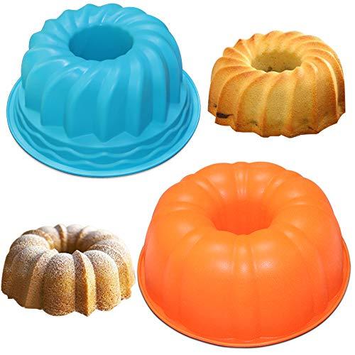 AIFUDA - Set di 2 stampi in silicone per torte, pane, grande zucca e spirale, rotondi, antiaderenti, per feste di compleanno, fai da te, colore: arancione, blu