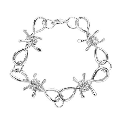 JIE Accesorios de Hip Hop Collar de Mujer Collar de Alambre de púas Pulsera de Espinas Pulsera