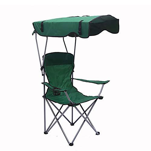 XINX Folding Camp Chaise avec Porte-Gobelet Et Parasol Portable Light Siège Extérieur, Parfait pour L'été Camping Jardin Trips Pêche Plage Bbqs,Vert
