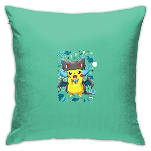 out Pikachu Blue Gengar Headgear Comfortable Linen Home Decor Pillowcase Throw Pillow Case Decorative Cushion Cover Fundas para Almohada 26x26Inch(65cmx65cm)