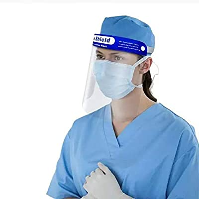 10PCS Reusable Face Shield, Plastic Safety Face Shield Reusable Full Face Transparent Breathable Visor Windproof Dustproof Hat Shield Protect Eyes And Face With Protective Clear Film Elastic Band