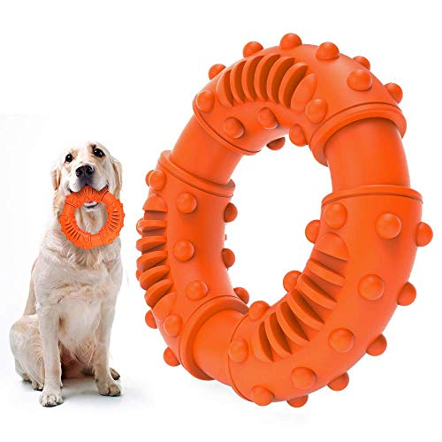 ABTOR Ultra Durable Dog Chew Toy - Toughest Natural Rubber - Texture Nub Dog Toys for All Aggressive Chewers Large Dogs Puppy - Fun to Chew, Dental Care, Training, Teething (A-Orange)