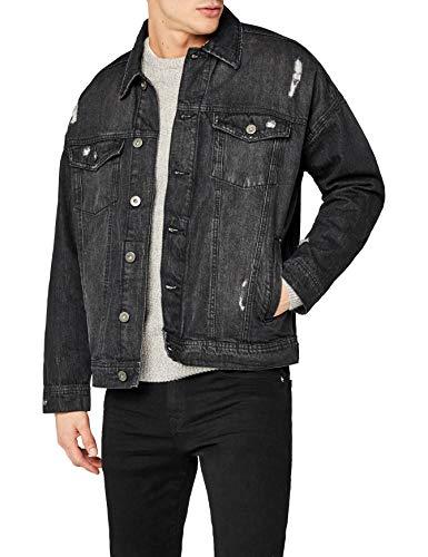 Urban Classics TB1438 Herren und Jungen Jeansjacke Ripped Denim Jacket, Oversize destroyed Look Jacke, black, Größe L