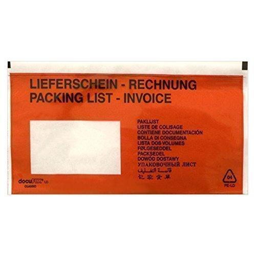 10000 Lieferscheintaschen DIN lang (bedruckt mit Lieferschein Rechnung) von docuFIX® classic Begleitpapiertaschen Versandtaschen