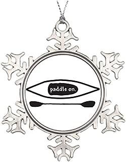 PotteLove Tree Branch Decoration Kayak and Paddle Simple Black Line Art Design Snowflake Ornaments for Sale Boating