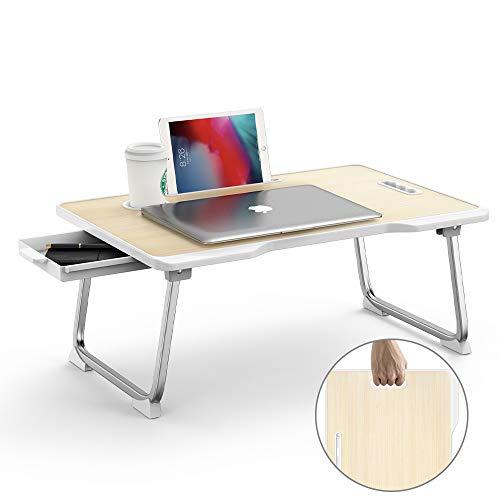 Elekin - Mesa de escritorio plegable, para portatil, cama, con ranura para tazas, multifuncion, para portatil y para cama y sofa