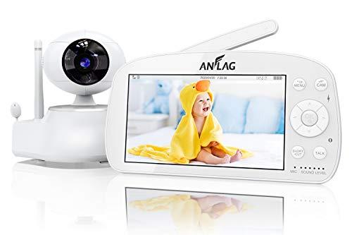Babyphone,ANFLAG 5.5 Zoll Baby Monitor mit Kamera 1080P *1920 FHD video Gegensprechfunktion,300M Reichweite,Schlaflieder,Temperatursen,Nachtsicht