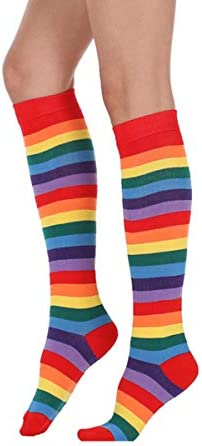 Womens Funny Colorful Striped Knee High Girls Fun Cute Rainbow Soccer Costume Novelty Tube Socks product image