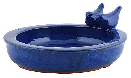 zeitzone Vogeltränke mit Vögelchen Keramik Blau Vogelbad Vogelfutterschale Rund 27cm