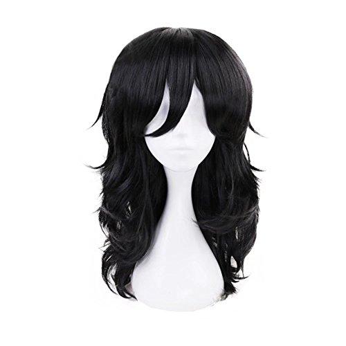 Kadiya Heat Resistant Medium Length Black Fluffy Cosplay Wig Anime Daiy Wear Hair