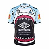 TR-yisheng Nouvelle-Zélande 2019-2020 Coupe du Monde Black Shark Rugby Maillot d'entraînement T-Shirt de Sport de Loisirs en Plein air Unisexe (S-5XL)