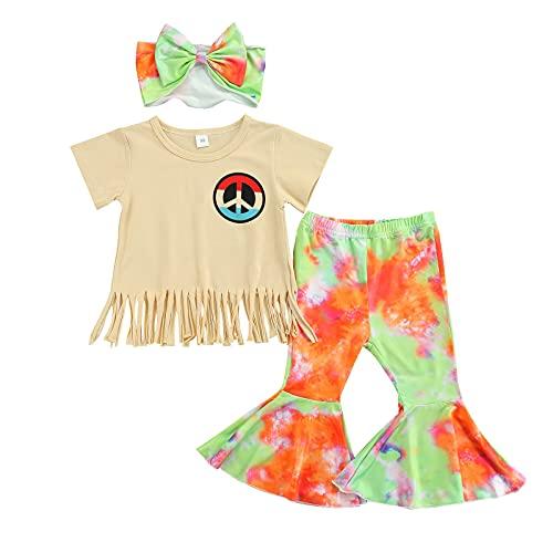Conjunto de ropa de verano para niñas y bebés con borla y pantalones con parte inferior de campana, con diadema