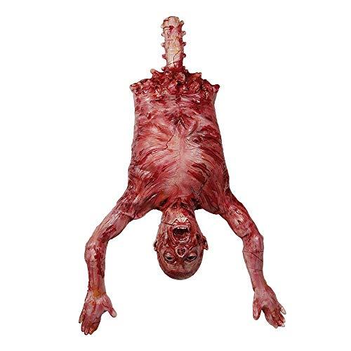 Halloween Party Requisiten Latex hängenden Torso abgetrennt enthäutet, Gummi limbless hängenden halben Körper Leiche Spukhaus Dekorationen 40x30x7in