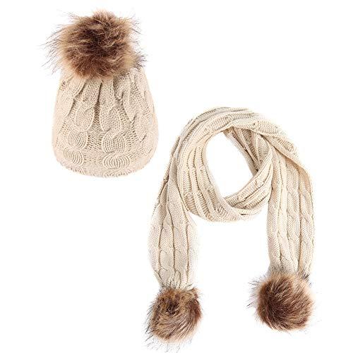 E-House Popular HatWinter Outdoor Baby Jongen Meisje Leuke Pompom Warm Gebreide Beanie Cap Sjaal Set - Wit Beige