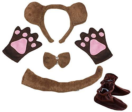 Petitebelle Guantes de diadema con lazada y cola para nios, disfraz de 5 piezas, 1-5 aos (oso(2))