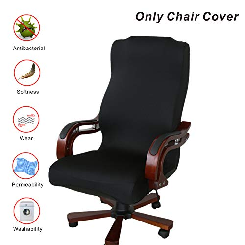 My Decor Office Chair Covers, Removable Cover Stretch Cushion Resilient Fabric Computer Chair/Desk Chair/Boss Chair/Rotating Chair/Executive Chair Cover, Large Size, Black