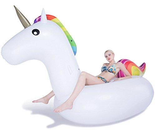 Jasonwell Inflables para Alberca Flotador Unicornio Gigante para Adultos y Niños Juguete Camastros Flotadores al Aire Libre Ride on Unicorn Party Inflatable Raft Float In Style