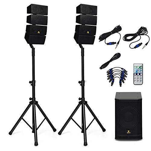 AKUSTIK 12 Inch 3000 Watt DJ Powered PA Speaker System Combo Set, 8 X Line Array Speakers Set with EQ, Active Subwoofer, 2 Speaker Stands, Remote Control & Bluetooth/USB/SD/RCA