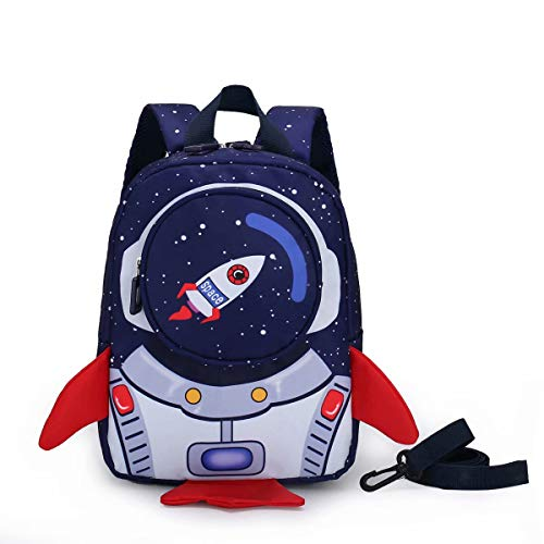Toddler Boys Girls Backpack with Harness Leash for 1-3 Year olds, Rocket Shape Kids Size Rucksack for Nursery, Preschool, Waterproof School Bag
