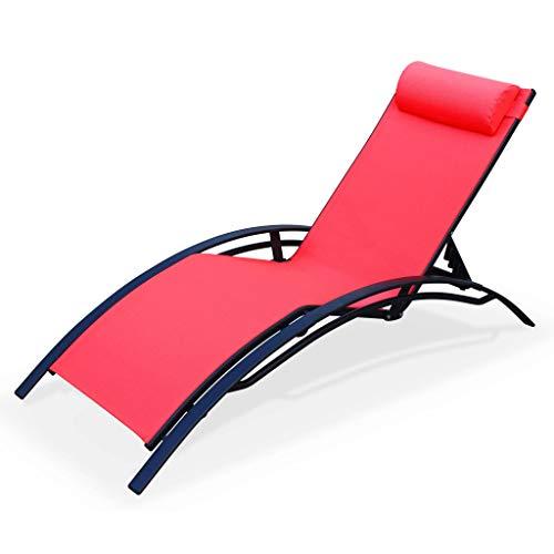 Alice's Garden - Tumbona de Aluminio Antracita y textileno Rojo Coral - Louisa