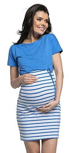 HAPPY MAMA. Mujer Premamá Dos Piezas Vestido Top Corto Separado Lactancia. 127p (Azul, EU 44, 2XL)