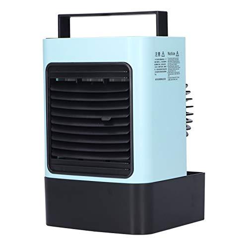 Aire acondicionado portátil, 600 ml USB recargable Ion negativo 3 velocidades Enfriador de aire con luz ambiental, Mini ventilador de aire acondicionado silencioso, Ventilador de enfriamiento(Azul)