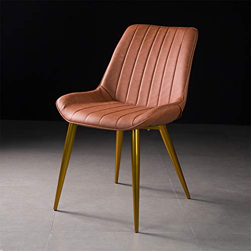 DyAn Lounge Chair, Gold Metallrahmen Breites PU-Ledersitz Für Küche/Wohnzimmer/Baruhr TV-Sessel(Color:Stilbraun)