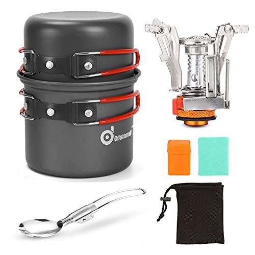 Odoland Kit de Utensilios de Cocina para Acampar con Ollas Camping y Sartén en Aluminio Anodizado No Tóxico, Estufa Trekking y Cuchara Plegable - Set Cocina Camping para Excursión, Senderismo