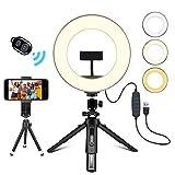 Creatck 8' Ringlicht, Ringlicht mit Stativ, 3 Farbe und 10 Helligkeitsstufen selfie licht, Ringleuchte mit stativ ür Live-Stream / Make-up /YouTube Video/ Fotografie, Kompatibel mit iPhone & Android