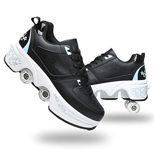Patines De Ruedas Adulto Multiusos Deportes De Exterior Zapatillas 2 En 1 Patines Botas De Patines De 4 Ruedas De Deporte Patines En Línea,Black Blue,38