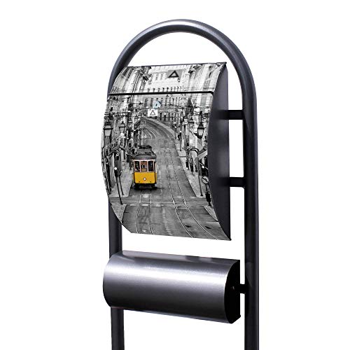 Banjado Briefkasten Hammerschlag-Optik mit Ständer | Postkasten freistehend 150x44x14cm | Standbriefkasten mit Zeitungsfach Motiv Lissabon