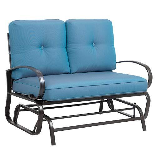 JY QAQA Loveseat Outdoor Patio Glider Rocking Bench, Porch Furniture Glider, Wrought Iron Chair Set...