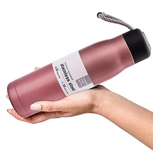 Borraccia Termica in Acciaio Inox, Bottiglia Termica 550ml, Tazze da Viaggio, per Campeggio di Sport Esterni Escursionismo Escursioni in Bicicletta (Rosa Antico)
