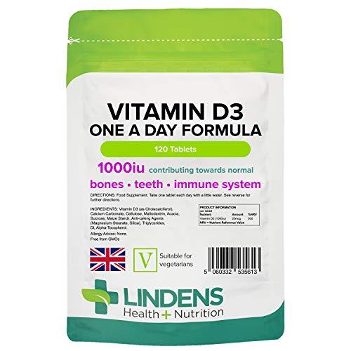 Lindens Vitamin D3 1000IU Tablets - 120 Pack - for Immune System, Bones, Teeth - 500% NRV - UK Manufacturer, Letterbox Friendly