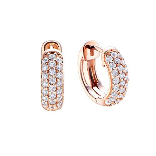 Pendientes de Durán Exquse de la colección Pretty Jewels realizada en plata 925 bañado en oro rosa con triple línea de circonicas