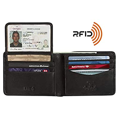 Mens Leather Bifold Wallet with Removable Passcase ID Window Flap Multi Credit Card Slots Organizer and Double Currency Divider Gusset made in Real Italian Cowhide Leather by Tony Perotti