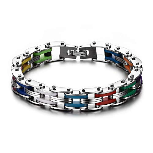 Men Bike Link Bracelets With 316L Stainless Steel Rainbow Rubber Bracelet For Men With 8.5 Inches
