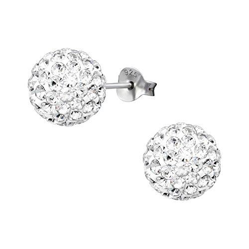 Monkimau Mädchen Ohrringe Glitzer Kugel Ohrstecker aus 925 Sterling Silver echt Silber mit Kristallen