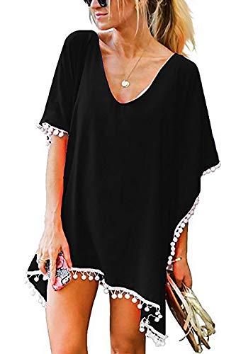 JMITHA Damen Strandponcho Sommer Strandkleid Sommerkleid Bikini Badeanzug Cover Up (One Size(XS-2XL), Schwarz(solid Pom))