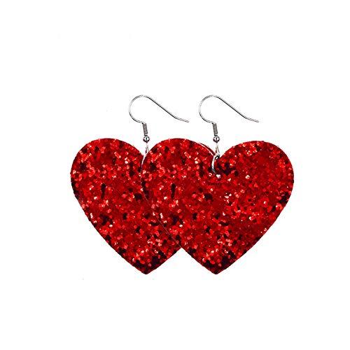 Women's Earrings Heart Love Red Lips Double Sided Printed Earrings,Hanging Earrings for Women Dangle,Alloy Earrings Piercing Hypoallergenic,Fashion