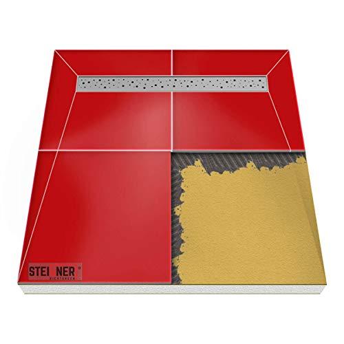 Duschelement mit Rinne Duschboard befliesbar MINERAL PROFI - LONDON 90x110 cm Ablauf LANGSEITE - Edelstahlrinne