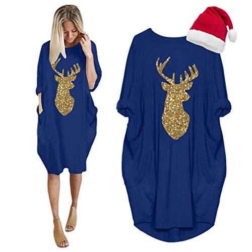 LOPILY Weihnachtskleid Damen Große Größen Pailletten Glitzer Weihnachten Jumperkleid mit Rentier Gedruckt Goldene Weihnachten Sweatkleider Damen Xmas Ausgestellte Minikleid Christmas (Blau, 38)