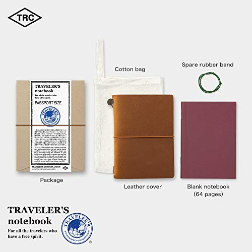 Midori Traveler's Notebook - Starter Kit, Camel (Passport Size) Photo #5